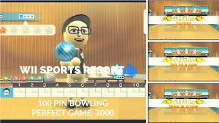 Wii Sports Resort - 100 Pin Bowling - Perfect Game 3000 (No Secret Strikes)