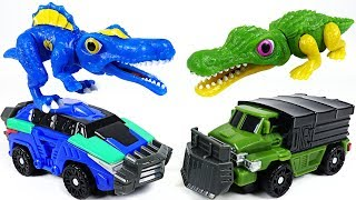 Dino Mecard tiny dinosaur Spinosaurus VS Deinosuchus transform dinosaur battle! - DuDuPopTOY