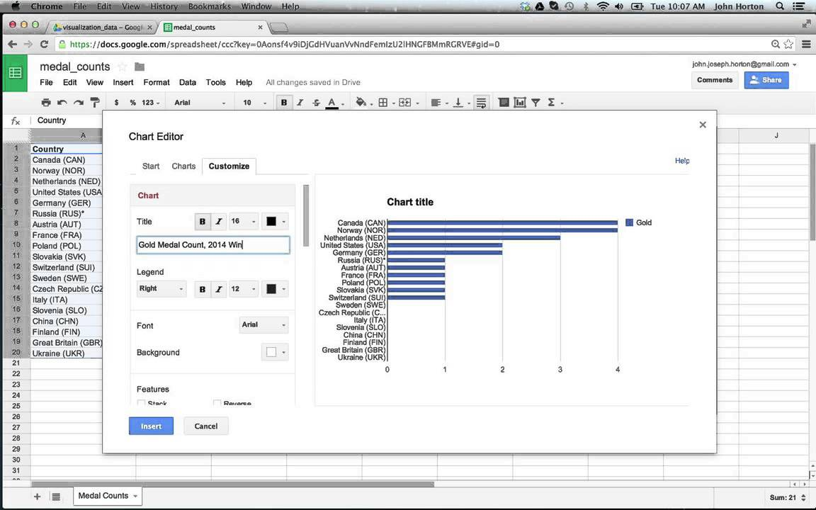 how to create a bar graph on google docs