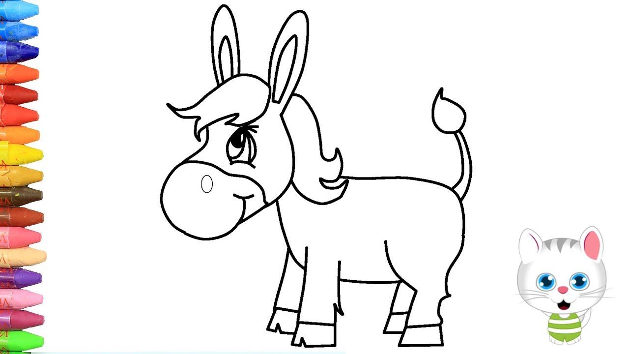 Cómo Dibujar Y Colorear El Burro Dibujos Para Niños Con Mimi Aprender Colores