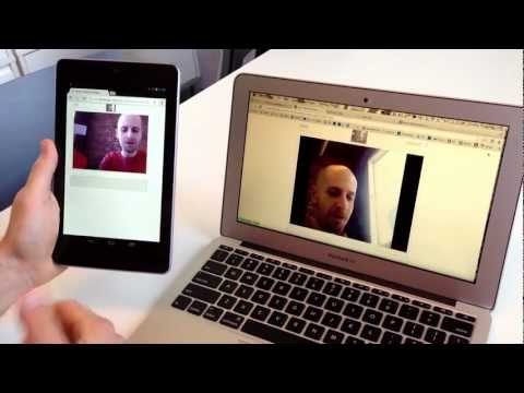 WebRTC Video Chat Demo Between Nexus Tablet and MacBook Air