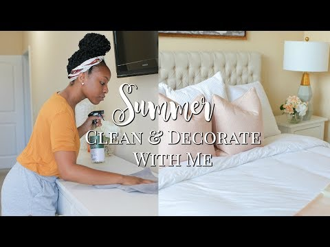 SUMMER CLEAN AND DECORATE WITH ME!! | RELAXING CLEAN WITH ME | BEDROOM & BATHROOM CLEANING ROUTINE