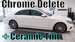 Tinting and Chrome Deletion on a White Mercedes S550