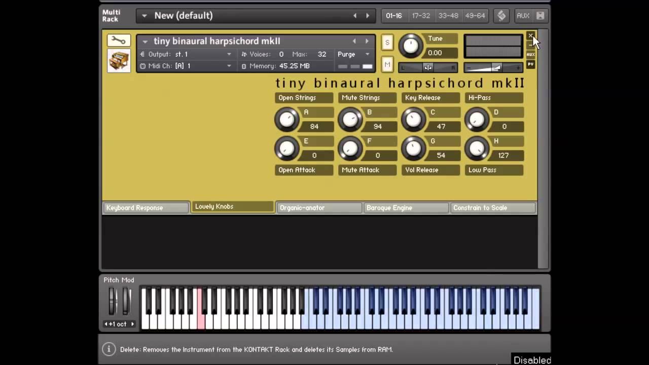 KVR: Tiny Binaural Harpsichord MKII by Sound Dust - Harpsichord