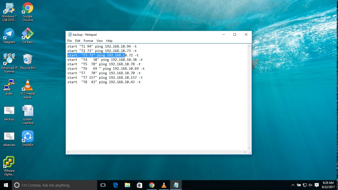 How to ping multiple servers using batch script file