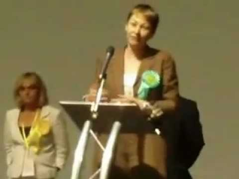 Caroline Lucas Green Party wins Brighton Pavilion.MOV