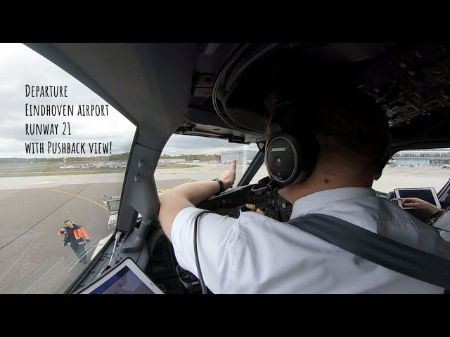 Departure runway 21 Eindhoven Airport including pushback sight (EIN EHEH).