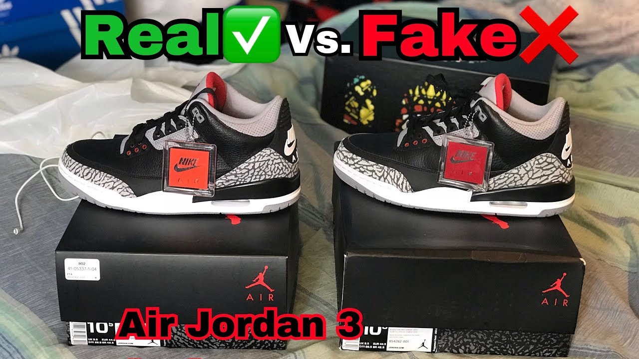 62741d34213ca Fake Comparison SBD Air Jordan 3 Black Cement 2018 REAL VS FAKE (UA)  Comparison (heyozzy) ...