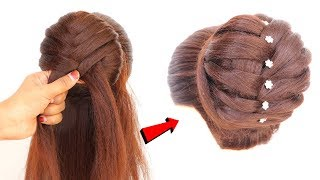 Most Easy French Bun Hairstyle Step by Step | bridal hairstyle | prom hairstyles || braid hairstyles