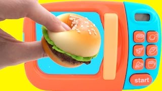 Toy Microwave Squishy Hamburger Play Doh Learn Fruits & Vegetables with Velcro Toys for Kids | Rainbow Learning