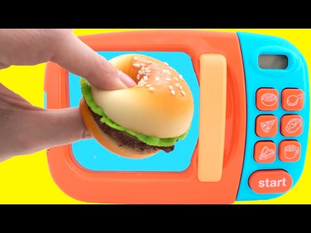 Toy Microwave Squishy Hamburger Play Doh Learn Fruits & Vegetables with Velcro Toys for Kids