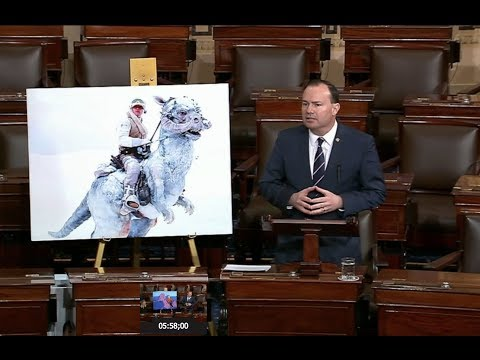 Senator uses Star Wars posters, image of Reagan riding a dinosaur to blast Green New Deal