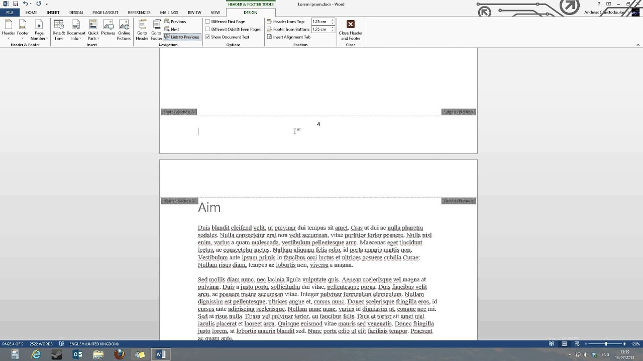 Page Numbers Starting From A Specific Page In Word 2013 Tutorial