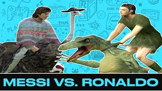 Messi vs. Ronaldo PES 6 Sim, But They're Riding Ostriches and Dinosaurs