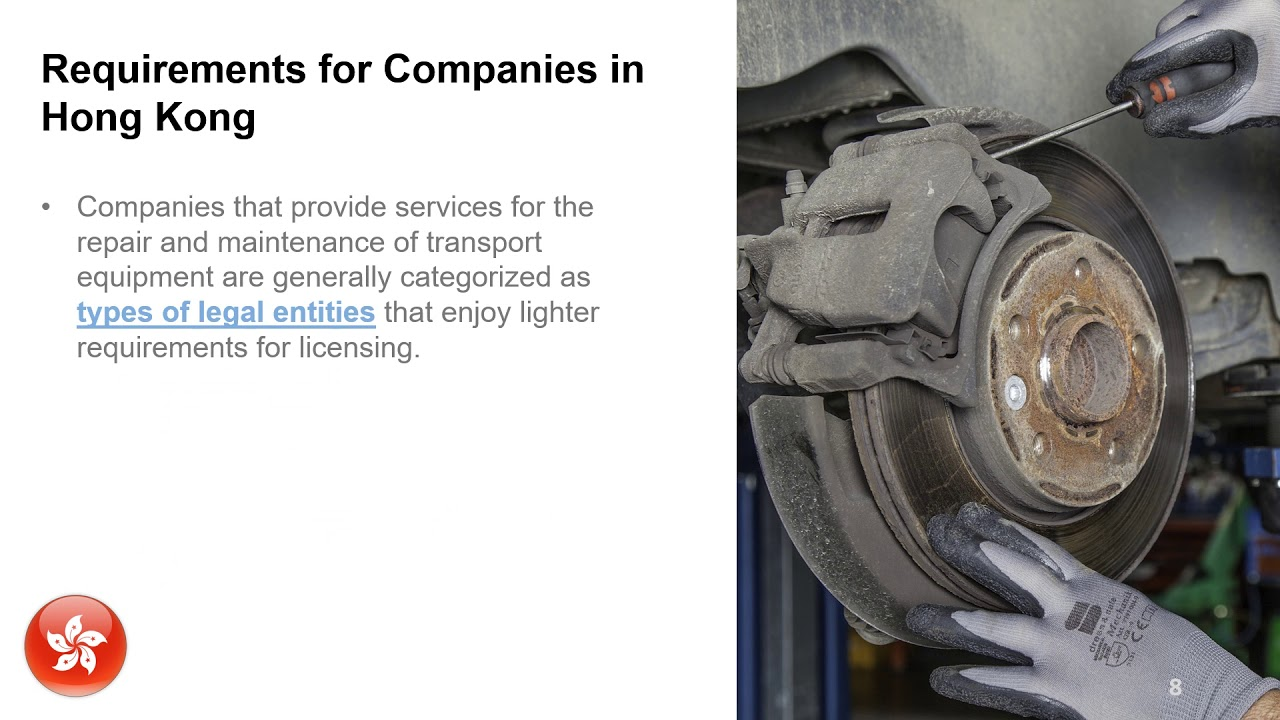 Set up a Business for Repair of Transport Equipment in Hong Kong