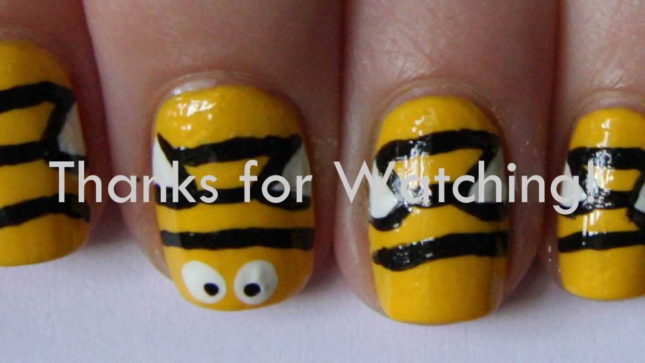 Cute Bumblebee Inspired Nail Art Youtube