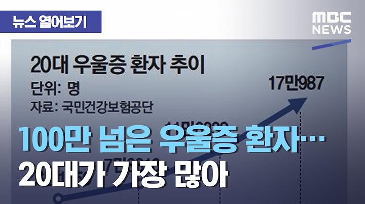 [뉴스 열어보기] 100만 넘은 우울증 환자…20대가 가장 많아 (2021.04.06/뉴스투데이/MBC)