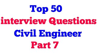 Civil Engineer Interview Question | interview Questions | Fresher Interview Question