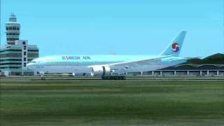 B777 Korean Air LANDING Hong Kong  VHHH