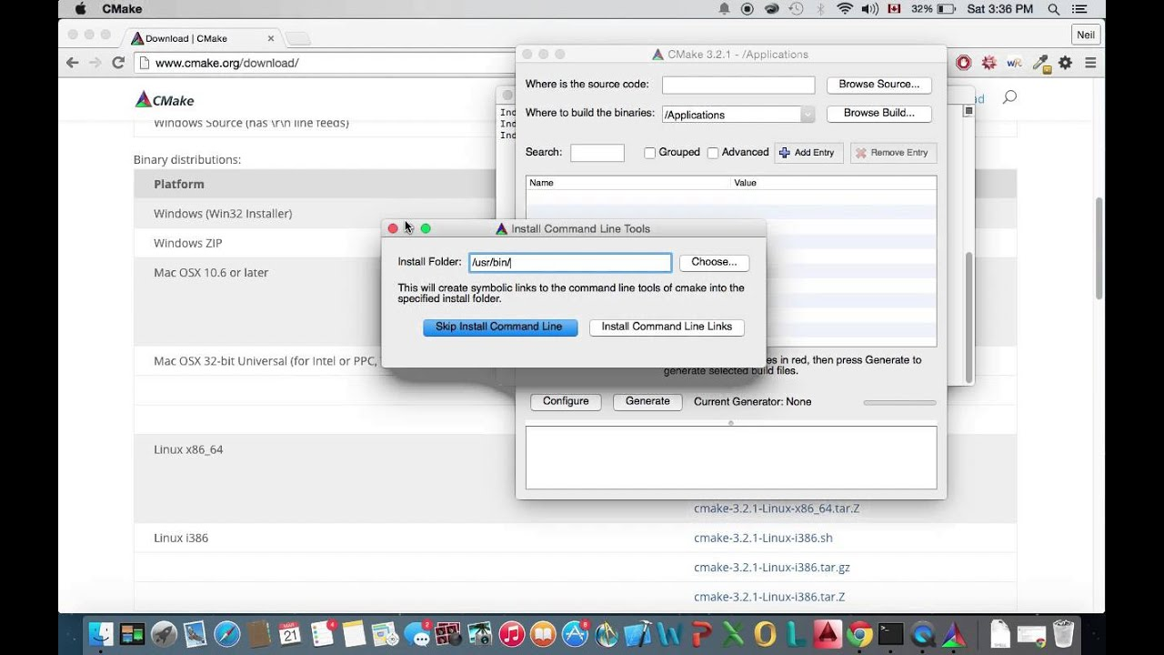 Installing CMake Command Line Tool on a Mac