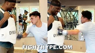 RYAN GARCIA DRILLS UFC'S FRANCIS NGANNOU AS HARD AS HE CAN & GETS LAUGH BACK IN BODY SHOT CHALLENGE