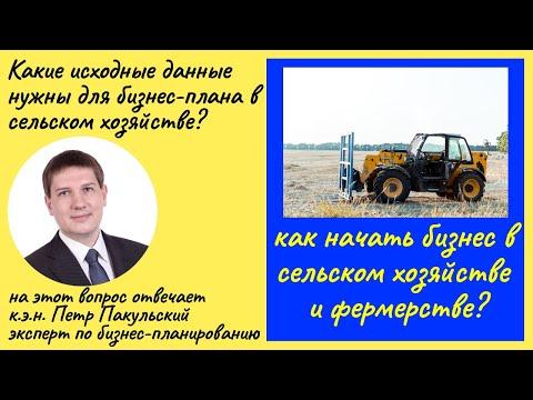 Бизнес план сельскохозяйственных проектов. Исходные данные
