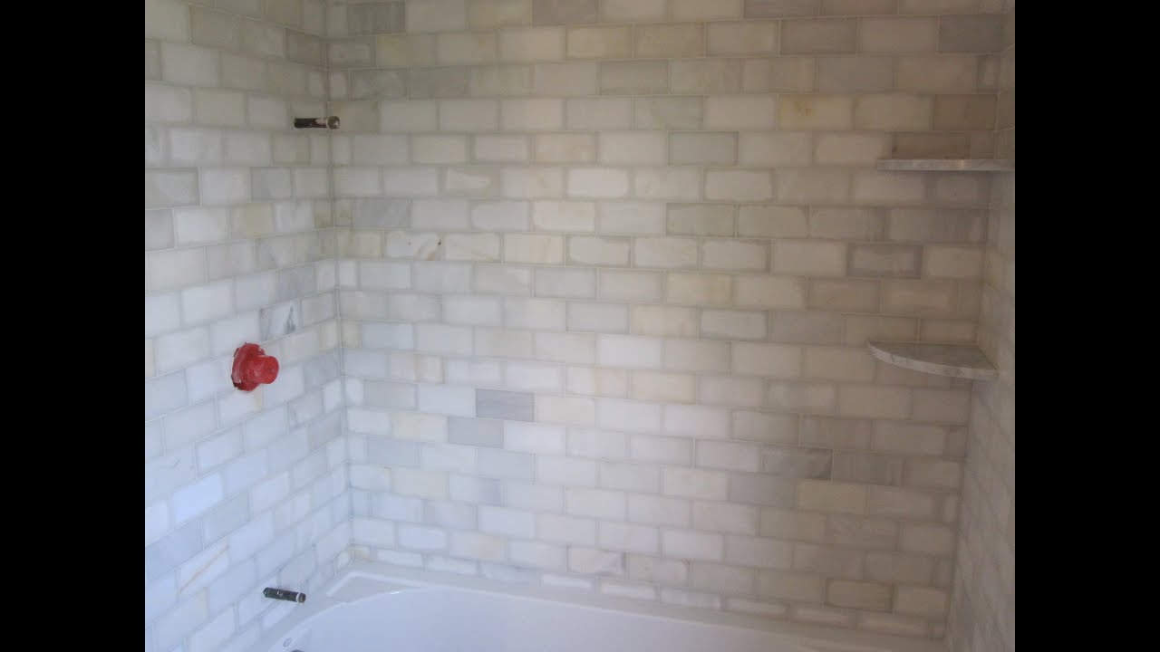 Marble Subway tile Bathroom - YouTube