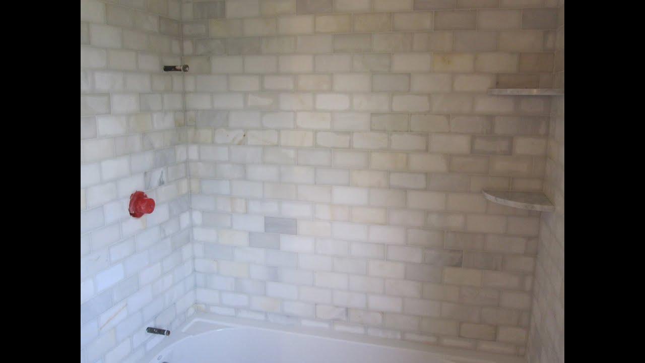 Marble Subway tile Bathroom - YouTube