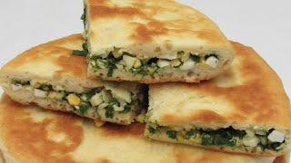 Кефирные Лепешки с яйцом и зеленью Рецепт ЛЕПЕШЕК на сковороде без дрожжей и лишней возни