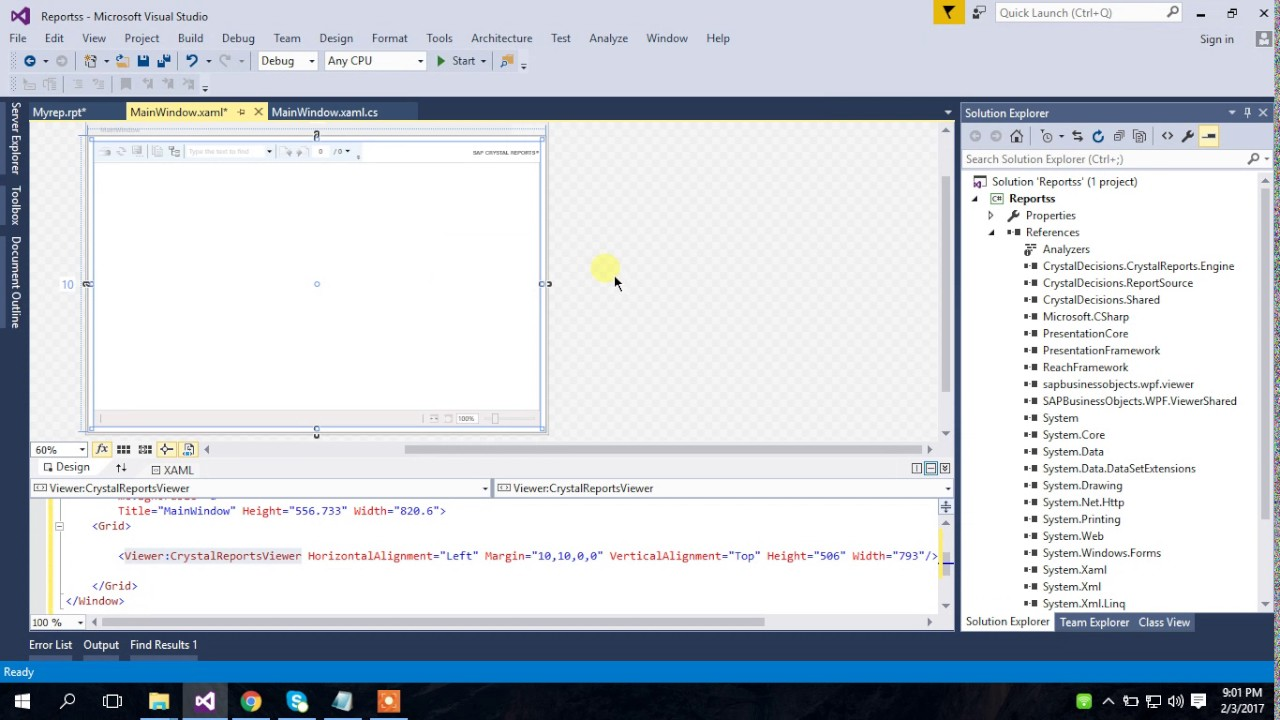 WPF Crystal Reports