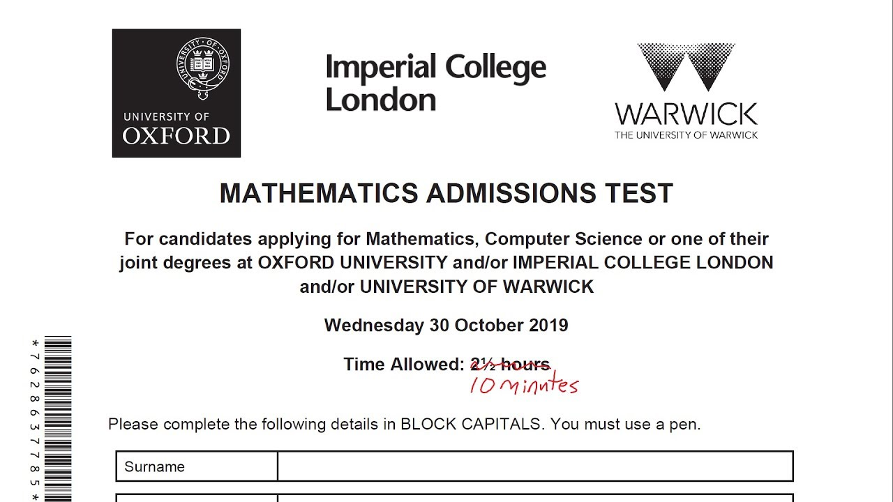 Maths Admissions Test | Mathematical Institute