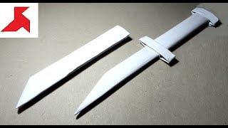DIY -  How to make a DAGGER ((knife)) with a scabbard from A4 paper (Letter)