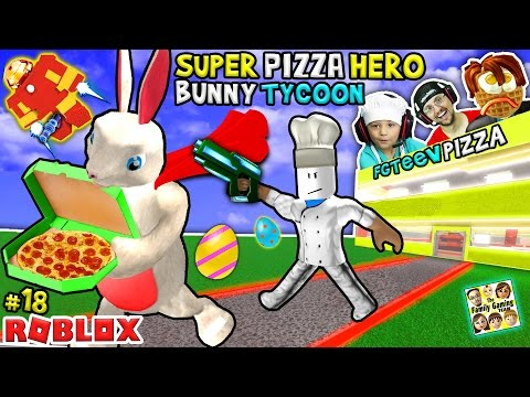ROBLOX Super Pizza Hero Easter Bunny Tycoon!  FGTEEV #18 Superhero Eggs w/ Hulkbuster
