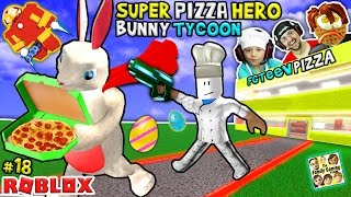ROBLOX Super Pizza Hero Easter Bunny Tycoon!  FGTEEV #18 Superhero Eggs w/ Hulkbuster