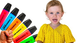Pretends to play with her Magic Pen Preschool toddler learn color