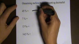 Omsætning mellem procent og brøk