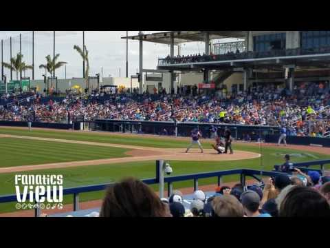 Tim Tebow hits deep fly ball out vs. Astros (2017)