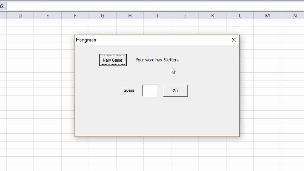 How to Make a Hangman Game with VBA. Part 1 - The Finished Game ...
