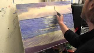 Море и чайки мастихином, живопись маслом, Сахаров