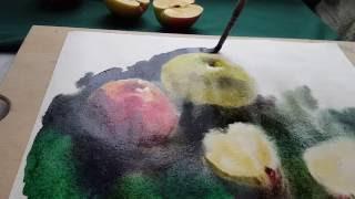 Акварель по сырому. Яблоки. Видеоурок #2