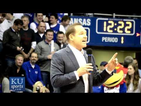 Kansas Head Coach Les Miles addresses the Allen Fieldhouse Crowd