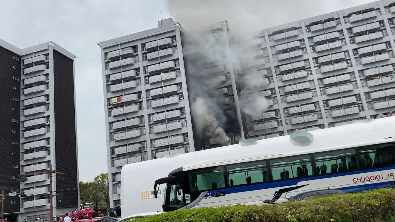 新白島駅近くのアパートで火災
