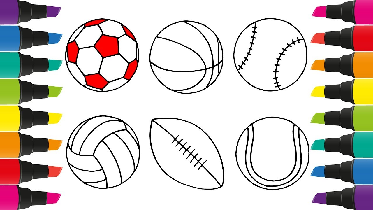 How to draw a set of sports balls coloring pages for kids to colour