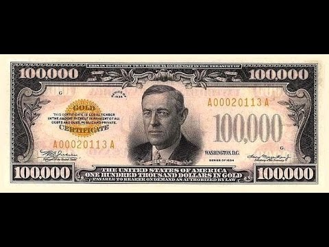 100000 dollar bill Series 1934 Gold certificates.mp4