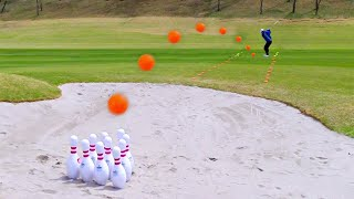What happens if a golf ball flies at the speed of 200km and hit the bowling pins? | Shoot for Love