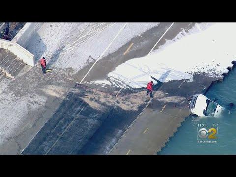 Chris Michaels - Chicago Park District Truck Slides In Lake Michigan Near Oak Street Beach