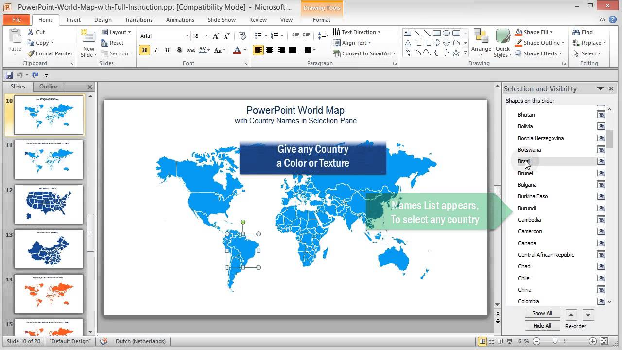 Selectable countries by name and color in powerpoint world map youtube youtube premium gumiabroncs Image collections