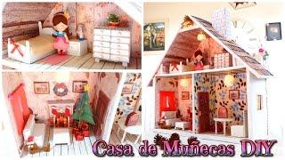 Manualidades: Casa de Muñecas DIY para Navidad - Tutorial - Isa ❤️