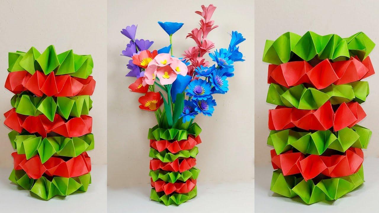 How To Make Paper Flower Vase Easy Making Paper Flower Vase Handcraft Abigail Paper Crafts