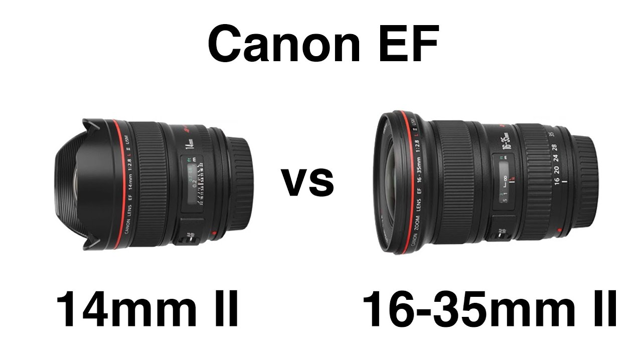 Canon EF 14mm II vs 16-35mm II wide angle lens comparison - YouTube